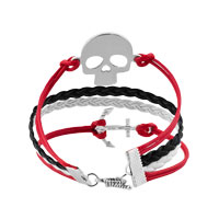 Bracelets - JEWELRY VINTAGE ICED OUT SILVER ANCHOR BRACELET SKULL WHITE BLACK LEATHER ROPE alternate image 2.