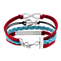 Bracelets - VINTAGE ICED OUT SILVER INFINITE BRACELET ANCHOR RED BLUE LEATHER ROPE WILL TAG alternate image 2.
