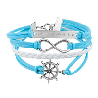 Bracelets - JEWELRY VINTAGE ICED OUT SILVER INFINITE BRACELET ANCHOR WHITE BLUE LEATHER ROPE alternate image 1.