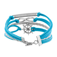 Bracelets - JEWELRY VINTAGE ICED OUT SILVER INFINITE BRACELET ANCHOR WHITE BLUE LEATHER ROPE alternate image 2.
