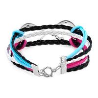Bracelets - NEW JEWELRY VINTAGE ICED OUT SILVER INFINITY BRACELET WHITE BLACK LEATHER ROPE alternate image 2.