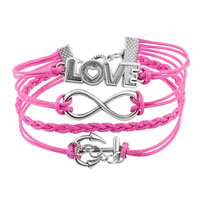 Bracelets - JEWELRY VINTAGE ICED OUT SILVER INFINITY BRACELET LOVE PINK LEATHER ROPE ANCHOR alternate image 1.
