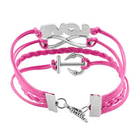 Bracelets - JEWELRY VINTAGE ICED OUT SILVER INFINITY BRACELET LOVE PINK LEATHER ROPE ANCHOR alternate image 2.
