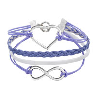 Bracelets - NEW JEWELRY VINTAGE ICED OUT SILVER INFINITY BRACELET HEART PURPLE LEATHER ROPE alternate image 1.