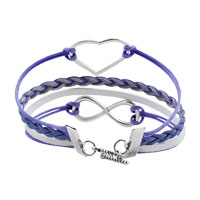 Bracelets - NEW JEWELRY VINTAGE ICED OUT SILVER INFINITY BRACELET HEART PURPLE LEATHER ROPE alternate image 2.
