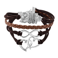 Bracelets - NEW VINTAGE ICED OUT SILVER INFINITY BRACELET OPEN HEART OWL BROWN LEATHER ROPE alternate image 1.