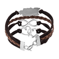Bracelets - NEW VINTAGE ICED OUT SILVER INFINITY BRACELET OPEN HEART OWL BROWN LEATHER ROPE alternate image 2.