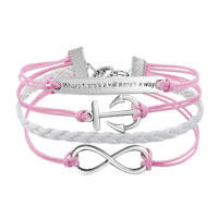 Bracelets - NEW VINTAGE SILVER INFINITY BRACELET ANCHOR WISDOM PINK LEATHER ROPE alternate image 1.