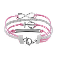 Bracelets - NEW VINTAGE SILVER INFINITY BRACELET ANCHOR WISDOM PINK LEATHER ROPE alternate image 2.