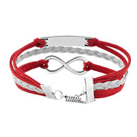 Bracelets - JEEWLRY VINTAGE ICED OUT SILVER INFINITY BRACELET DREAM RED WHITE LEATHER ROPE alternate image 2.