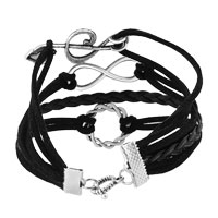 Bracelets - JEWELRY VINTAGE ICED OUT SILVER INFINITY BRACELET MUSIC NOTE BLACK LEATHER ROPE alternate image 2.
