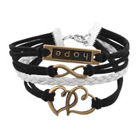 Bracelets - NEW VINTAGE ICED OUT SILVER INFINITY BRACELET OPEN HEART HOPE BLACK LEATHER ROPE alternate image 1.