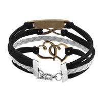 Bracelets - NEW VINTAGE ICED OUT SILVER INFINITY BRACELET OPEN HEART HOPE BLACK LEATHER ROPE alternate image 2.