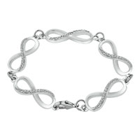 Bracelets - CLASSIC CRYSTAL ICED OUT INFINITY CHAIN LINK LOBSTER CLASP BRACELET alternate image 1.