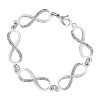 Bracelets - CLASSIC CRYSTAL ICED OUT INFINITY CHAIN LINK LOBSTER CLASP BRACELET alternate image 2.