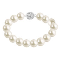Bracelets - WEDDING WHITE PEARL BEAD CHAIN SILVER P CLEAR CRYSTAL CHARMS BRACELET BANGLE alternate image 1.