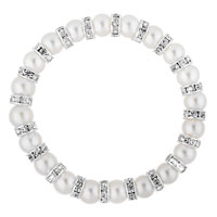 Bracelets - WHITE PEARL BEADS SILVER P CRYSTAL RHINESTONE SPACER STRETCH CHARMS BRACELET alternate image 1.