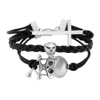 Man's Jewelry - VINTAGE ICED OUT SILVER CROSS SKULL BLACK LEATHER BRACELET alternate image 1.