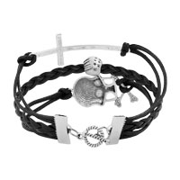 Man's Jewelry - VINTAGE ICED OUT SILVER CROSS SKULL BLACK LEATHER BRACELET alternate image 2.