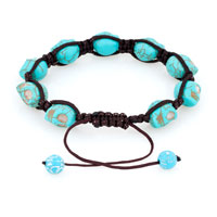 Man's Jewelry - SHAMBALLA COLOR AQUAMARINE BALL HALLOWEEN SKULL BEADED BRACELET alternate image 1.