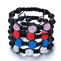 Bracelets - SHAMBALLA BRACELET TRIPLE RED BALL RHINESTONE alternate image 1.