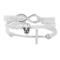 Man's Jewelry - VINTAGE ICED OUT SILVER INFINITY CROSS SKULL WHITE LEATHER BRACELET alternate image 1.