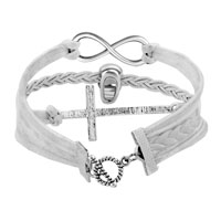 Man's Jewelry - VINTAGE ICED OUT SILVER INFINITY CROSS SKULL WHITE LEATHER BRACELET alternate image 2.