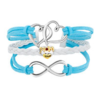 Bracelets - VINTAGE ICED OUT SILVER INFINITY HEART LOVE MOM CHARM WHITE BLUE LEATHER BRACELET alternate image 1.