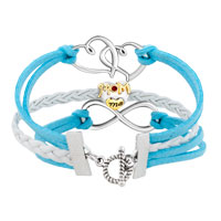 Bracelets - VINTAGE ICED OUT SILVER INFINITY HEART LOVE MOM CHARM WHITE BLUE LEATHER BRACELET alternate image 2.
