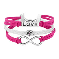 Bracelets - SILVER/ P INFINITY HEART LOVE MOM CHARM WHITE PINK LEATHER BRACELET alternate image 1.