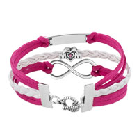 Bracelets - SILVER/ P INFINITY HEART LOVE MOM CHARM WHITE PINK LEATHER BRACELET alternate image 2.