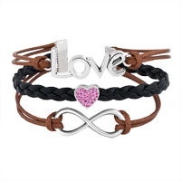 Bracelets - VINTAGE ICED OUT SILVER INFINITY LOVE HEART CHARM BROWN BLACK LEATHER BRACELET alternate image 1.