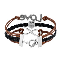 Bracelets - VINTAGE ICED OUT SILVER INFINITY LOVE HEART CHARM BROWN BLACK LEATHER BRACELET alternate image 2.