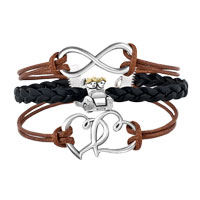 Bracelets - VINTAGE ICED OUT SILVER INFINITY LOVE HEART CATE CHARM BROWN BLACK LEATHER BRACELET alternate image 1.