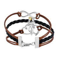 Bracelets - VINTAGE ICED OUT SILVER INFINITY LOVE HEART CATE CHARM BROWN BLACK LEATHER BRACELET alternate image 2.