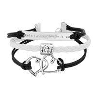 Bracelets - VINTAGE ICED OUT SILVER INFINITY LOVE FAMILY CHARM WHITE BLACK LEATHER BRACELET alternate image 1.