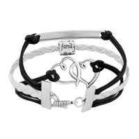 Bracelets - VINTAGE ICED OUT SILVER INFINITY LOVE FAMILY CHARM WHITE BLACK LEATHER BRACELET alternate image 2.