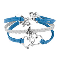 New Arrivals - VINTAGE ICED OUT SILVER OPEN HEARTS BUTTERFLY CHARM WHITE BLUE LEATHER BRACELET alternate image 1.