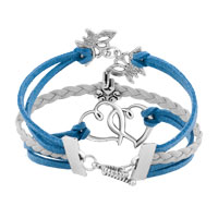 New Arrivals - VINTAGE ICED OUT SILVER OPEN HEARTS BUTTERFLY CHARM WHITE BLUE LEATHER BRACELET alternate image 2.