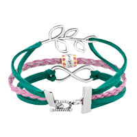 Bracelets - VINTAGE ICED OUT SILVER INFINITY LIFE TREE CHARM PINK GREEN LEATHER BRACELET alternate image 2.