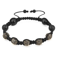 Man's Jewelry - SHAMBHALA BRACELET BLACK BALL RHINESTONE alternate image 1.