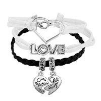 Bracelets - VINTAGE ICED OUT SILVER TREE OF LIFE DREAM LIVE LOVE LAUGH CHARM RED BLACK LEATHER BRACELET alternate image 1.