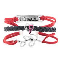 Bracelets - VINTAGE ICED OUT SILVER CROSS LOVE PUPPY DOG CHARM WIHTE BLUE LEATHER BRACELET alternate image 1.