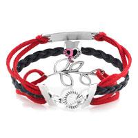 Bracelets - VINTAGE ICED OUT SILVER CROSS LOVE PUPPY DOG CHARM WIHTE BLUE LEATHER BRACELET alternate image 2.