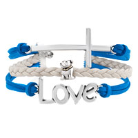 Bracelets - VINTAGE ICED OUT SILVER INFINITY LOVE HEART MOM CHARM BLACK BLUE LEATHER BRACELET alternate image 1.