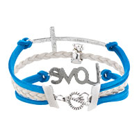 Bracelets - VINTAGE ICED OUT SILVER INFINITY LOVE HEART MOM CHARM BLACK BLUE LEATHER BRACELET alternate image 2.