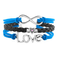 Bracelets - VINTAGE ICED OUT SILVER CROSS PUPPY DOG CHARM WIHTE BLUE LEATHER BRACELET alternate image 1.