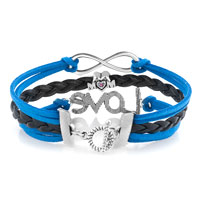 Bracelets - VINTAGE ICED OUT SILVER CROSS PUPPY DOG CHARM WIHTE BLUE LEATHER BRACELET alternate image 2.