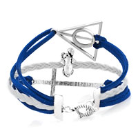 New Arrivals - VINTAGE ICED OUT SILVER WHEEL DREAM PUPPY DOG IN HOUSE CHARM BLACK GRAY LEATHER BRACELET alternate image 2.