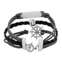 Bracelets - VINTAGE ICED OUT SILVER INFINITY HEARTS LOVE PUPPY DOG CHARM WHITE BLACK LEATHER BRACELET alternate image 2.